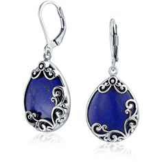 Bling Jewelry Lapis Teardrops ($60) ❤ liked on Polyvore featuring jewelry, earrings, accessories, blue, dangle-earrings, sterling silver earrings, sterling silver teardrop earrings, long earrings, blue dangle earrings and sterling silver dangle earrings