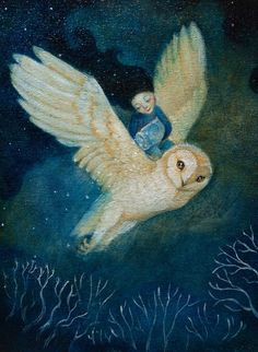 blue - owl - girl - flying - 'Fly Me to Your Dreams' by Lucy Campbell Owl Art, Bird Art, Art And Illustration, Fantasy Kunst, Fantasy Art, Whimsical Art, Spirit Animal, Painting & Drawing, Watercolor Art