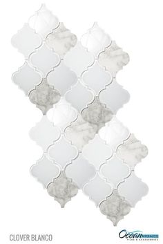 Master bathroom crisp white frosted and clear glass tile and marble entwined in this arabesque moroccan tile. makes a divine arabesque backsplash! Arabesque Tile Backsplash, Glass Mosaic Tiles, Marble Mosaic, Carrara Marble, Moroccan Tile Backsplash, Wall Tiles, Kitchen Backsplash, Backsplash Design, Backsplash Ideas