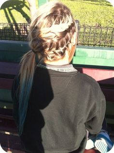 When my hair gets longer this will be my hairstyle. Volleyball Hairstyles, Sporty Hairstyles, Ponytail Hairstyles, Pretty Hairstyles, Braided Ponytail, Braided Buns, Messy Buns, Wedding Hairstyles, Cheer Hairstyles