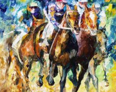 Cowboy  Palette Knife Horse Figure Wall Art Oil Painting On
