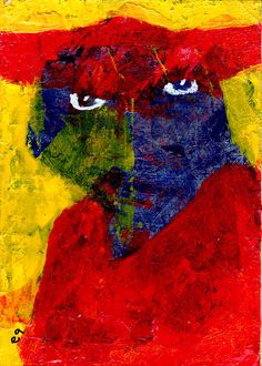 burning desire e9Art ACEO Bull Outsider Art Brut Intuitive Folk Original Painting Expressionism Figurative