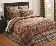 Dawson Star Quilt Sets Rustic Country Red Plaid Cabin Blocks Twin Full/Queen - King