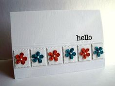 handmade card ... clean and simple ... band of inchies ... postage stamp die ... with sweet flowers in color opposites from the color wheel ... lovely!!