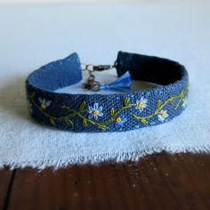 Wildflower Cuff Bracelet Blue Wildflowers Hand by Sidereal
