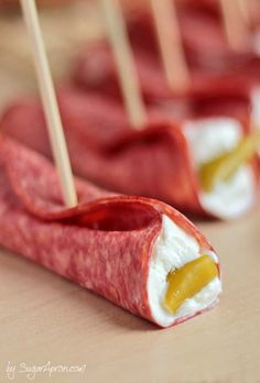 ALso good is a slice of salami wrapped around a sweet gerkins.Easy Salami Roll Ups| www.sugarapron.com | Looking to host a great #Sunday #football or the #SuperBowl party? Try this #easyrecipe to satisfy their hunger between #quarters.