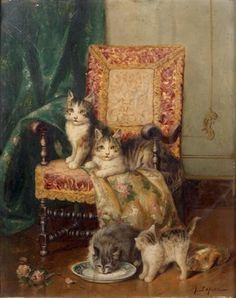 Four cats and a French armchair -- by Jules Leroy (French, 1833–1865)