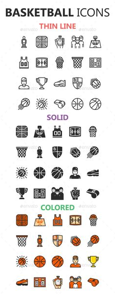 #Basketball Icons in 3 Styles - Miscellaneous #Icons Download here: https://graphicriver.net/item/basketball-icons-in-3-styles/19377588?ref=alena994