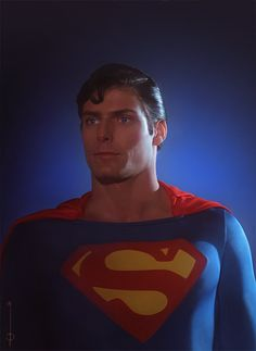 Christopher Reeve as Superman drawn and painted by Enclose (this is not a photograph!). Beautiful! http://euclase.tumblr.com