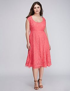 Lace Fit & Flare Dress with Tulle Hem