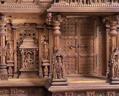 Composite architectural model, sandalwood, with details from medieval Hindu temples near Mysore, South India, Museum Number Indian Temple Architecture, India Architecture, Wood Architecture, Beautiful Architecture, Wood Carving Designs, Wood Carving Art, Wood Carvings, Chettinad House, Pooja Room Design