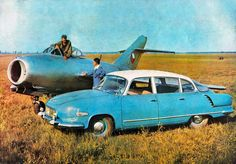 [Scanned from a period postcard, here's the air-cooled Tatra 603 and the jet fight Jet Fight, Vintage Cars, Vintage Photos, Beast From The East, Car Posters, Fast Cars, Sport Cars, Cars And Motorcycles, Corvette