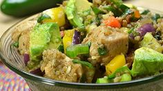 Mexican Chicken Quinoa Salad <3 Chicken, quinoa, avocado, and jalapeno peppers are tossed with salsa in this hearty and easy Mexican quinoa dish.