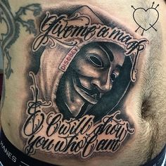 "Really fun Guy Fawkes piece today on @dglsrodrigues ! Thanks Bud!! ""Give me a mask & I'll show you who I am"" #guyfawkes #guyfawkesmask #guyfawkestattoo #bng #blackandgreytattoo #letteringtattoo #scripttattoo #reillyscript #bostontattooartist #chrisreilly #reillyinks #empiretattooboston #empiretattooinc #disObey"