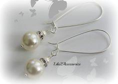 Bridesmaid Pearl Jewellery, Bridal Earrings, Long Hoop Earrings, Gold Ivory Pearl Drop Earrings, Bridal Accessories, Bridesmaid Accessories
