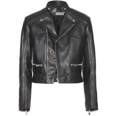 Balenciaga Leather Jacket (4 180 AUD) ❤ liked on Polyvore featuring outerwear, jackets, black, genuine leather jacket, real leather jacket, black jacket, 100 leather jacket and leather jacket