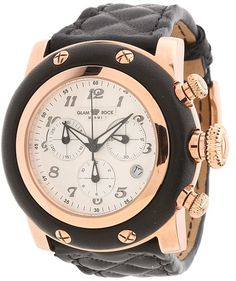 Glam Rock 46mm Roe Gold Plated Chronograph Watch with Black Matela Leather Strap - GR11133 Watche on shopstyle.com