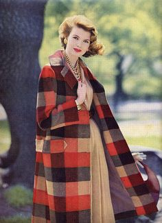 plaid coat 50s 60s print ad orange brown black tan dress necklace