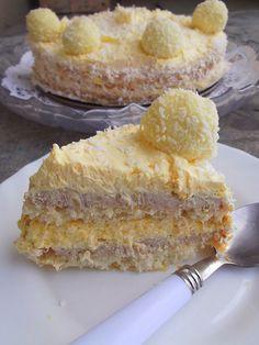 Rafaelo torta Za kore vam je potrebno: 6 belanaca 130 g šećera 6 kašika braš. Torte Recepti, Kolaci I Torte, Wine Recipes, Baking Recipes, Dessert Recipes, Coconut Desserts, Delicious Desserts, Torta Recipe, Torte Cake