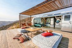 Camper/RV in Malibu, United States. Escape Los Angeles to this incredible getaway!  Perched on a private bluff and surrounded by pristine nature and wildlife the airstream boasts infinite ocean views, quietness and style.  There really is no other airstream like this one. Stripped d...