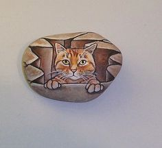 Original Hand Painted Rock with Orange Tabby Pebble Painting, Pebble Art, Stone Painting, Hand Painted Rocks, Painted Stones, Happy Rock, Pride Rock, Rock Painting Ideas Easy, Rock Decor