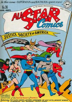 BAT-HISTORY, AUG 1947: Honorary members Superman and Batman made a rare Justice Society of America guest appearance in All Star Comics #36 as they filled in for regular team members Johnny Thunder and The Atom, respectively.