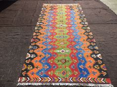 "Traditional Rug,4,11""x10,7"" Feet 150x323 Cm Area Kilim Rug,Long Colorful Turkish Kilim Rug,Rare Pattern Anatolian Kilim Rug."