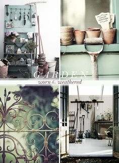 Worn & Weathered Garden, love it all! Potting Tables, Sleeping Porch, Potting Sheds, Old Farm Houses, Pottery Making, Vintage Farmhouse, Home Hacks, Simple Pleasures, Dream Garden
