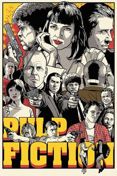 The difference between reality and fiction? Fiction has to make sense. Pulp Fiction by Joshua Budich Arte Pulp Fiction, Tarantino Pulp Fiction, Tarantino Films, Quentin Tarantino, Films Cinema, Cinema Posters, Film Posters, Type Posters, Design Posters