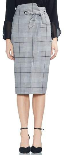 c4373b8176 Vince Camuto High Waist Glen Plaid Pencil Skirt. An asymmetrically wrapped  and tied waist makes