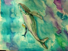 Watercolor whale. Dreaming of mermaids again.