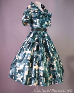 1950s Helen Rose, Full Skirt Dress Silk  - Helen Rose was an Academy Award winning costume designer for MGM Studios.