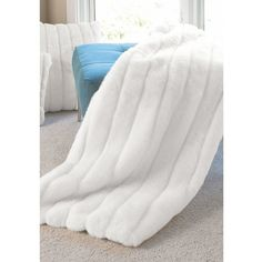 Donna Salyers' Fabulous-Furs Signature Series Throw ($179) ❤ liked on Polyvore featuring home, bed & bath, bedding, blankets, decor, white mink, lightweight blanket, faux fur throw, white faux fur throw blanket and faux fur bedding