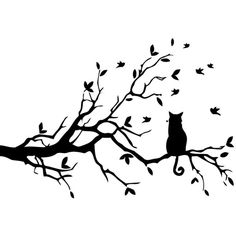 Cat Sitting on Tree Branch Vinyl Wall Art ($41) ❤ liked on Polyvore featuring home, home decor, wall art, backgrounds, fillers, art, cats, black, effects and cat decals