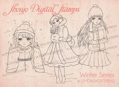 Winter Shoujo Digital Stamps Set of 3, PNG Coloring Pages, Snow Christmas Digi Stamps, Retro Anime Fashion Girls, Image, Instant Download