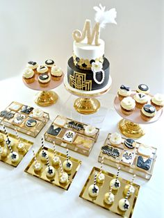 Gold, Black and White Gatsby Themed Black Art Deco Cake, Cupcakes, Cookies and Cake Pops Cake Desserts Table Birthday Party Cherie Kelly London 2 Tier Birthday Cakes, 5 Tier Wedding Cakes, Dessert Table Birthday, Birthday Party Snacks, Birthday Dinners, Birthday Cupcakes, 25th Birthday, Birthday Nails, Birthday Ideas