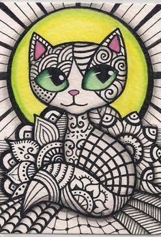 ACEO Zentangle Cat Original Art | eBay