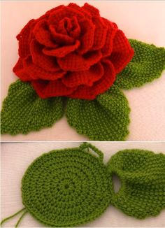 Crochet 3 D Flower With Leaves - Knitting BordadoCrochet 3 D Flower With LeavesMaking flowers is the most enjoyable process. Almost every woman loves flowers, but unfortunately real flowers are getting wilt, that is why crochet flower is always the b Crochet Puff Flower, Crochet Flower Tutorial, Crochet Leaves, Crochet Flower Patterns, Crochet Motif, Crochet Doilies, Crochet Flowers, Knitting Patterns, Crochet Ideas