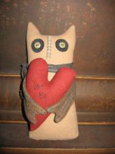 PRIMITIVE FOLK ART VALENTINE BROWN OWL with VALENTINE