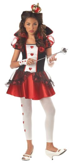 Take on Alice and the Mad Hatter as the Queen of Hearts this Halloween. The Queen of Hearts Costume dress is mid thigh length and features a red, black and white bodice with collar, puffy sleev Costume Halloween, Queen Of Hearts Halloween Costume, Halloween Costumes For Teens, Halloween City, Group Halloween, Easy Halloween, Alice Halloween, Pretty Halloween, Girl Halloween