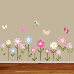 Custom Listing Vinyl Wall Decal Stickers Daisy Flowers Butterflies. $75.00, via Etsy.