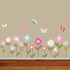 Custom Listing Vinyl Wall Decal Stickers Daisy Flowers Butterflies. $75.00, via Etsy.