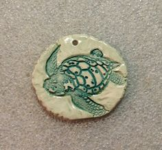 by Sheri Mallery, Large Sea Turtle ceramic pendant glazed in teal and by SlinginMud