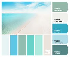 """From 06.24.13 """"Caribbean color"""" Design Seeds to paint colors from Chip It! by Sherwin-Williams Best Exterior Paint, Exterior Paint Colors, Paint Colors For Home, Exterior Design, Interior Colors, Interior Paint, Beach House Colors, Beach Color, Color Calipso"""