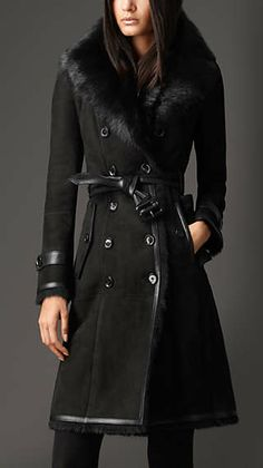 Long Shearling Trench Coat