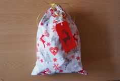 Santa sack, Christmas gift bag, fabric pouch sack, pouch bag; reindeer, Christmas tree, heart festive fabric; Santa bag, Xmas bag, gift sack by LovelyPerfectStyle on Etsy