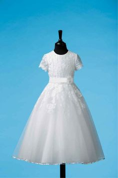 Vintage First Communion Dress - Short Sleeve Lace And Tulle With Whimsical Tulle Skirt - Oonagh - Ko Ko Collection - New 2014