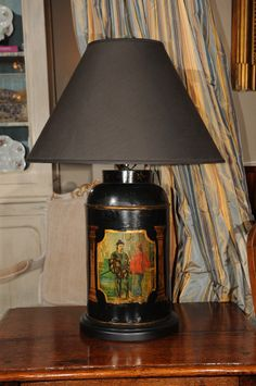 English Tole Painted Tin Tea Canister Table Lamp image 3