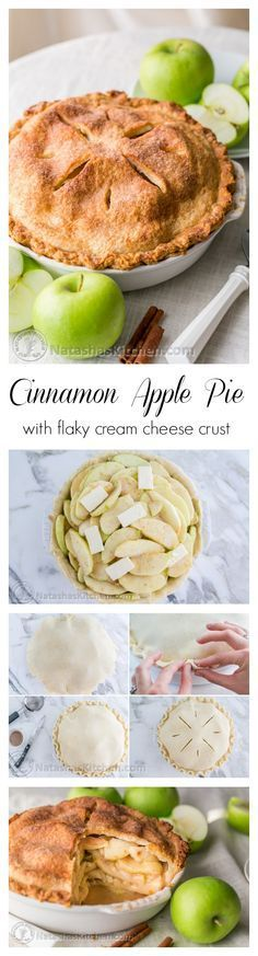 Cinnamon Apple Pie Recipe with a flaky cream cheese crust. Now THIS is an apple pie. @natashaskitchen