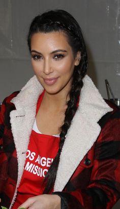 Kim Kardashian rocks a long side braid